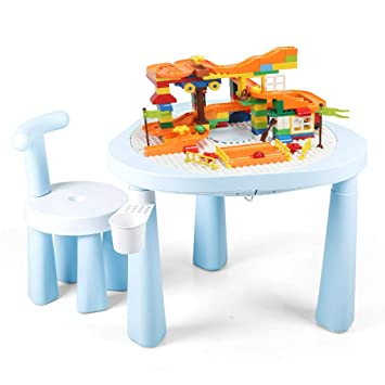 Juegos de mesas y sillas Mesa y sillas de construcción multifuncionales. Juguetes educativos para niños
