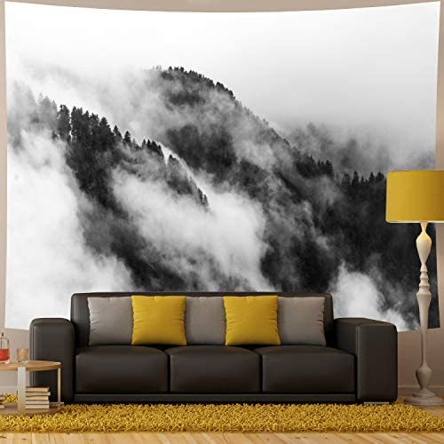 Amhokhui Misty Forest Tapestry Mountain Tapestry Black and White Tapestry Wall Hanging Fantastic Fog Magical Trees Tapestry 3D Vision Nature Landscape Tapestry XL 70.8 90.5 , Misty