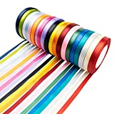 Tosnail 20 Pack 3/8' x 24 Yards Each Satin Ribbon Roll Silk Ribbon Roll - Great for Gift Wrapping, Party Decoration or Craft Projects