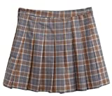 Be Loved Beloved Women Classic High Waist Casual Western Plaid Checked College Pleated All-Match A Line Skirt Brown S