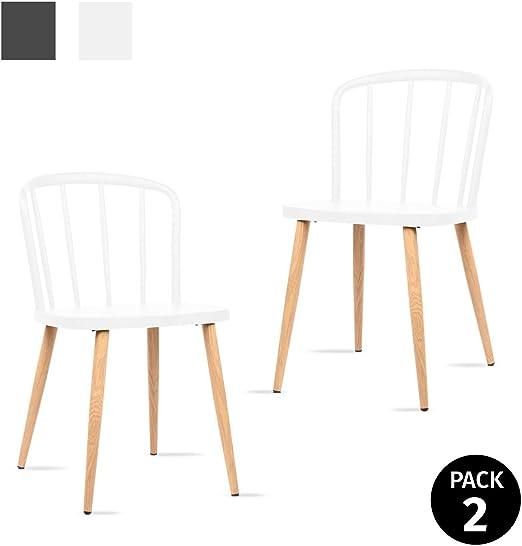 Mc Haus COLONNA - Pack 2 sillas comedor estilo nórdico color blanco, silla moderna salón diseño dormitorio cocina escritorio 40,5x43,5x74cm: Amazon.es: Juguetes y juegos