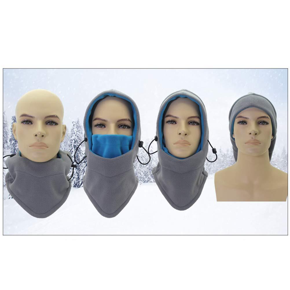 Clispeed Passamontagna Maschera da Sci Antivento cap Antivento Caldo Maschera in Pile Termico Termico Scaldacollo Cappuccio da Sci Regolabile per Bambini Donna Uomo Grigio Rosato