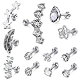 Incaton 12Pcs 16G Stainless Steel Cartilage Cubic