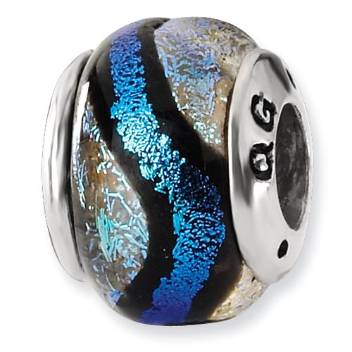 Sterling Silver Blue Dichroic Glass Bead ()
