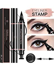 Winged Eyeliner Pencil Stamp - Perfect Cat Eye Vamp Liquid Black Quick Flick Wingliner Waterproof Stencil Wing Long Lasting Smudgeproof Natural Smooth 2 in 1 Duel End (1 Pack)