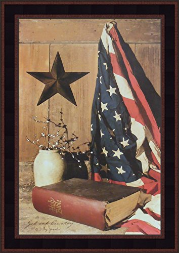 God and Country by Billy Jacobs 15x21 Americana American Flag Bible Star Crock Primitive Folk Art Framed Print Picture