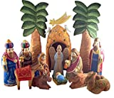 Hand Carved 16 Piece Wooden Navitiy Set 12-Inch Russian Style Christmas Decoration