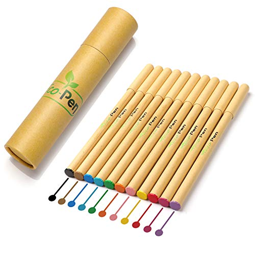 Eco Pen Eco-Friendly Colorful Gel Fine-Point Pen Set, Made from Biodegradable Recycled Cardboard, 0.38mm Ultra-Fine Roller Ball Tip, Assorted Bright Colors, 12 Count Pen Set for Art and School Supplie