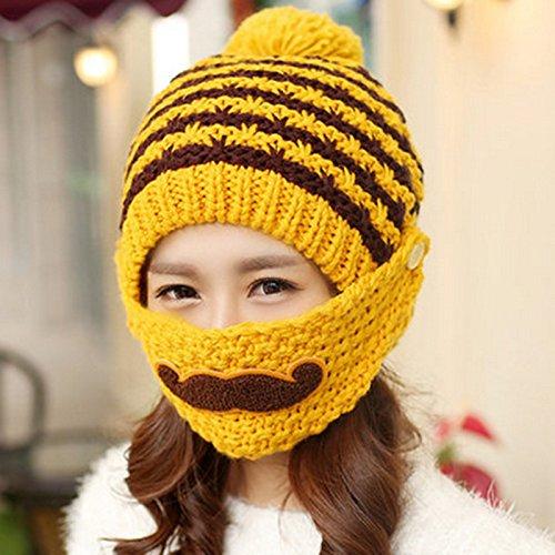 jaune  nanih Home Chapeau Plus Chapeau en Tricot de Printemps Masque de Barbe Chaude Chapeau de Laine Cache-Oreilles en Plein air (Couleur   Navy)