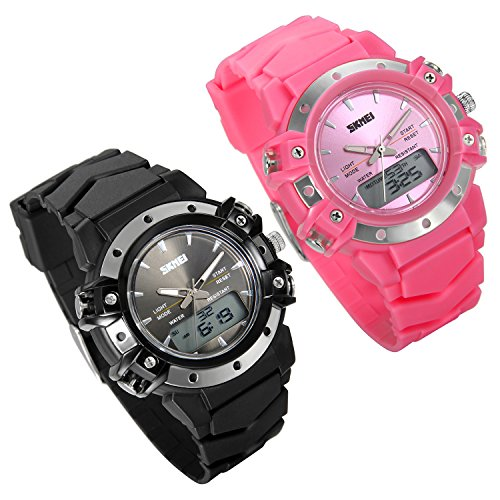Lancardo 50M Water Resistan Analog-Digital 2 Timezone Teen Boy Girl Metal Wrist Watch(Pink/Black) (Zone Metal Black Band Face)
