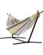 Vivere Double Sunbrella Hammock with Space Saving Steel
