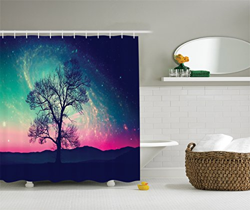 Hill Modern Bedspread (Galaxy Shower Curtain Stars Decor by Ambesonne, Lonley Tree View with Starry Night Sky Nebula Fantasy Oribit World Print, Polyester Fabric Bathroom Set with Hooks, 84 Inches Extra Long, Magenta Navy)