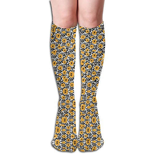 ドックしなければならない動物園リトルイエローフラワー ストッキング 3D デザイン 女性男性 秋と冬 フリーサイズ 美脚 かわいいデザイン 靴下 足元パイル ハイソックス メンズ レディース ブラック サイハイソックス