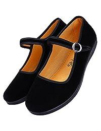 Women's Velvet Mary Jane Shoes Ballerina Ballet Flats Yoga Exercise Shoes