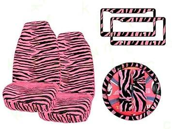7 Pc Safari Zebra Pink Print Seat Cover Set 2 Lowback Seat Covers, 1 Wheel Cover And 2 Shoulder Pads - Zebra Pink - фото 8