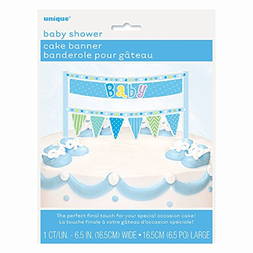 [Blue Polka Dot Boy Baby Shower Cake Bunting Topper] (Costumes Out Of Cardboard Box)