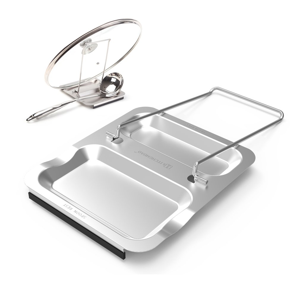 Lid Holder and Spoon Rest-Foldable for Easy Storage| Anti-slip base丨Utensils Lid Holder with Food-grade 304 Stainless Steel| Prevents Splatters Drips | Easy to Clean by Kitchendao by KITCHENDAO