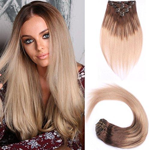 Riya Straight Hair Clip In Human Hair Extensions Brazilian Virgin Hair Balayage Dip-Dye Color Human Hair 120g 7pcs Per Package #4#18 18inch - Q3 Hair Dryer