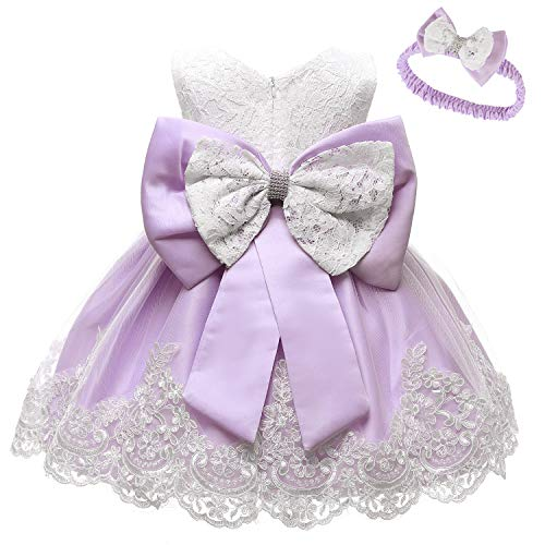 (LZH Baby Girls Newborn Bowknot Birthday Christening Dress Baptism Wedding Party Flower Dresses Light)