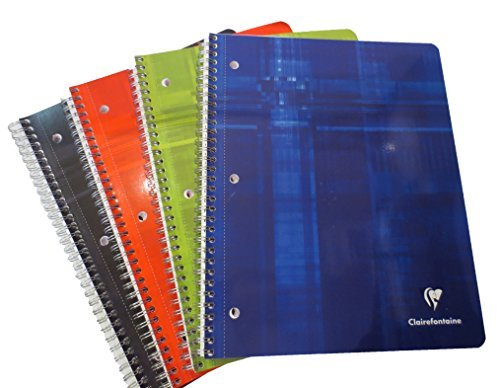 Pack of 5 Clairefontaine Classic Extra Large Side Spiralbound Notebook (8.5 X 11) 3 Hole Punched