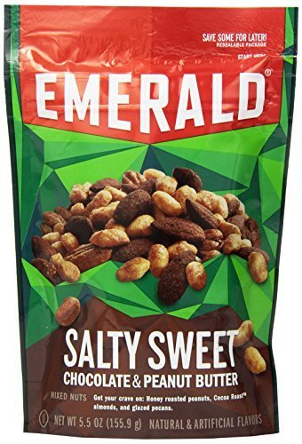 Emerald Salty Sweet Chocolate Peanut Butter Mixed Nuts, Stand Up Resealable Bag, 5.5 Ounce (Pack of 18)