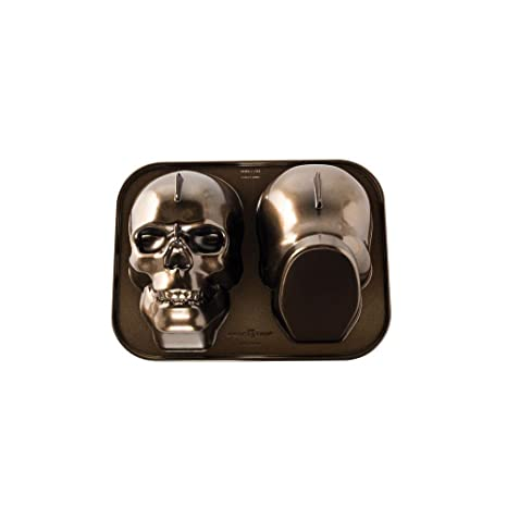 Nordicware - NW88448 Molde De Repostería Para Bizcochos Con Forma De Calavera De Aluminio Fundido