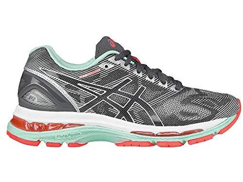 ASICS Women's Gel-Nimbus 19 Running Shoe, Carbon/White/Flash Coral, 7.5 M US