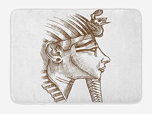 Ancient Bath Mat, Egyptian Tutankhamun Pharaoh Profile Necropolis King Traditional Icon Design, Plush Bathroom Decor Mat with Non Slip Backing, 23.6 W X 15.7 W Inches, Cocoa and White ()