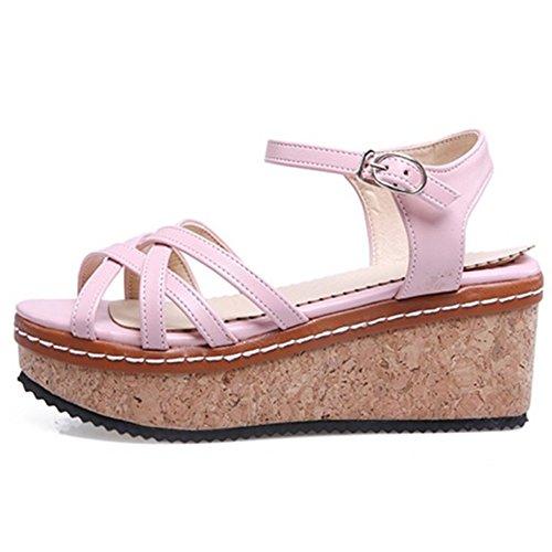 9 Pink TAOFFEN Sandali Scarpe Donna Zeppa qFwxSUwnYp