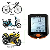 Hangang Bicycle Speedometers, Waterproof Bike Computer Wireless Bike Speedometer Odometer with 12/24 Hours with Backlight Display,Speed Tracking, Trip Time/Distance Recording for Cycle