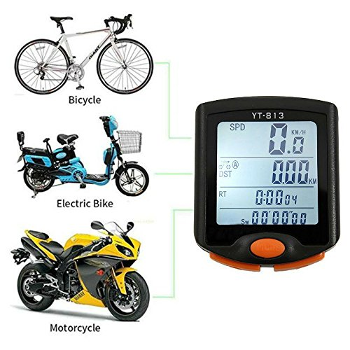 Hangang Bicycle Speedometer, Bike Computer Waterproof Bike Computer Multifunction LCD Battery Power Cycling Pedometer Odometer,Perfect for Hiking Climbing Riding and Outdoor Actives by Hangang