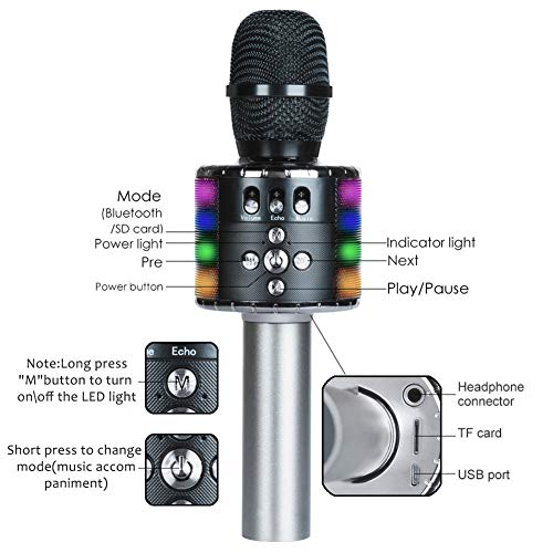 Wireless Bluetooth Karaoke Microphone with Multi-color LED Lights, 4 in 1 Portable Handheld Home Party Karaoke Speaker Machine for Android/iPhone/iPad/Sony/PC (Space gray) … by Fifth Avenue-Store (Image #2)