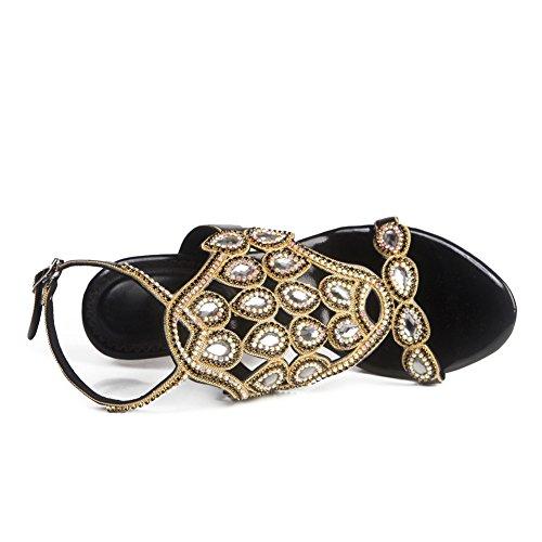 Zapatos Tamaño Low Diamante Prom Heel Sandalias Strappy Mid Prom High Negro Señoras Mujeres Party Pa1U7Wqpcw
