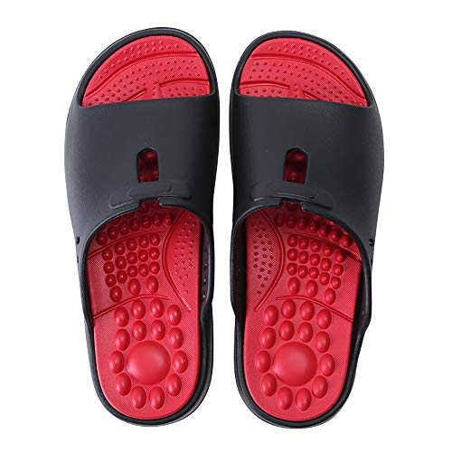 Slipper Sandals, Foot Massage Slippers, On-Slip Massage Gym Slippers Soft  Sole Open Toe Reflexology for Women Mens Unisex Reflexology,Black,36/37EU