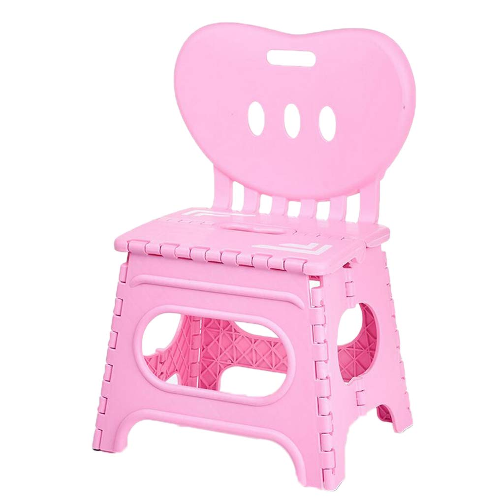 B Blesiya Kids Plastic Foldable Chair,Step Stool with Backrest S/L Size,Flat Folding Indoor Outdoor Camping - Pink-L