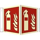 Winkelschild, Nasenschild Feuerlöscher nach ISO 7010 HIGHLIGHT Alu 14,8 x 14,8cm mit 4 Bohrungen à 3 mm Ø Leuchtdichte: HIGHLIGHT 48 mcd/m² gemäß ISO 7010, F001