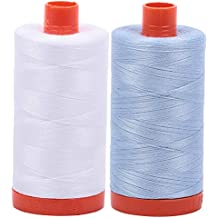 AURIFIL Cotton Mako 50wt Thread 2 Large Spools: White + Light Robins Egg (2024+2710)