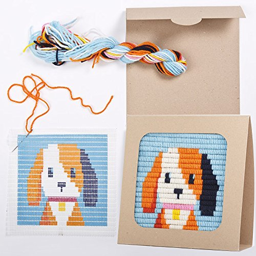 """Puppy Design Needlepoint Embroidery Craft Kit for Beginners. Eco Friendly Package that Turns into a Display Frame, Easier than Cross Stitch. Size - 8"""" x 8"""" (Puppy Needlepoint Kit)"""