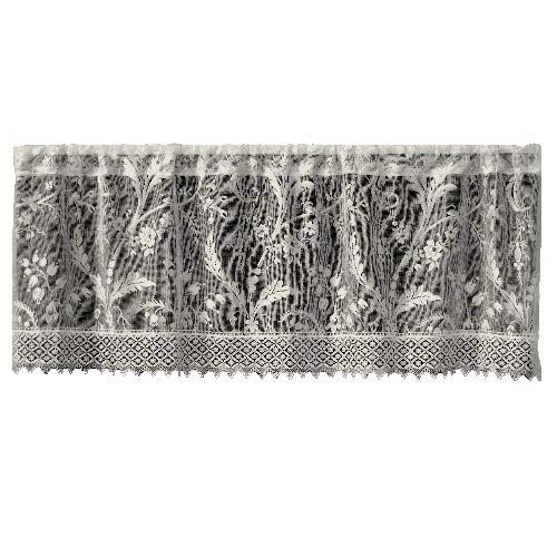 Heritage Lace Coventry 45-Inch Wide by 18-Inch Drop Valance with Trim, Ivory - Ivory Lace Valance