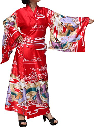 Full Funk Brand Full Kimono Dress Outfit Blended Chinese Silk Sakura Gaesha, Large, Geisha in Red ()