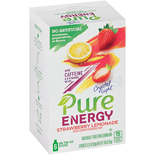 Crystal Light On the Go Pure Energy Strawberry Lemonade Drink Mix, 6 ct (Crystal Lite Strawberry Lemonade)