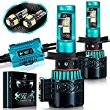 Glowteck LED Headlight Bulbs Conversion Kit – H4(9003) CREE XHP50 Chip 12000 Lumen/Pair 6K Extremely Bright 68w Cool White 6500K For Bright & Greater Visibility 2 Year Warranty