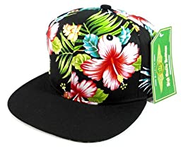 Floral Snapback Hats Caps Fashion - Hawaiian Hibiscus Flower | Black