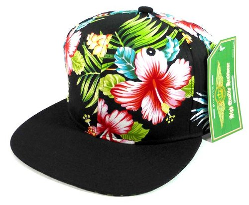 124fe9933e9 Floral Snapback Hats Caps Fashion - Hawaiian Hibiscus Flower ...