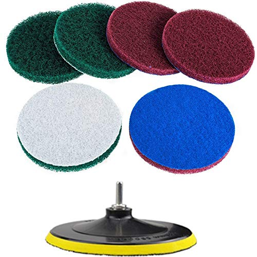 (Super Large Size 7 Inch Drill Powered Brush Tile Scrubber Scouring Pads Cleaning Kit, 2 Different Stiffness, 7-Inch Disc Pad Holder with 6 Scrubbing Pads, Cleans Large Flat Areas Perfectly (7-inch))