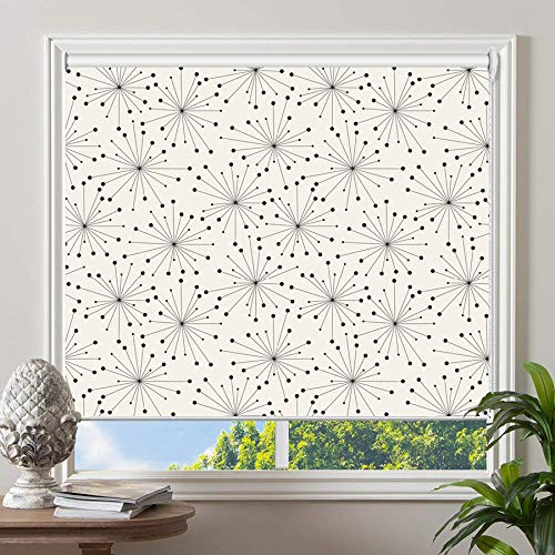 PASSENGER PIGEON Blackout Window Shades, Black in White Patterned Premium Thermal Insulated UV Protection Custom Roller Blinds, 46″ W x 36″ L