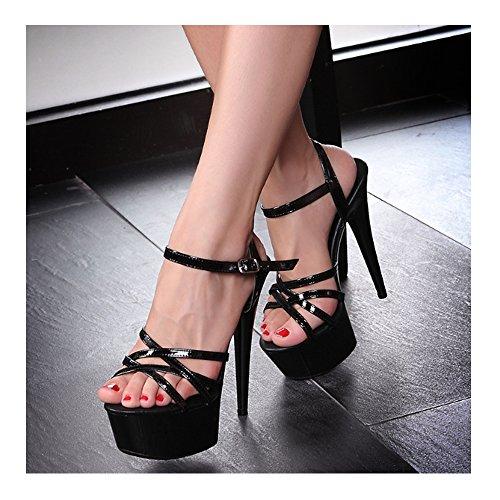 Mariage De Epais Noir Sexy Aiguille Sandales Plateforme Femmes Talon Soirée Escarpin Haut ZOd7w5q