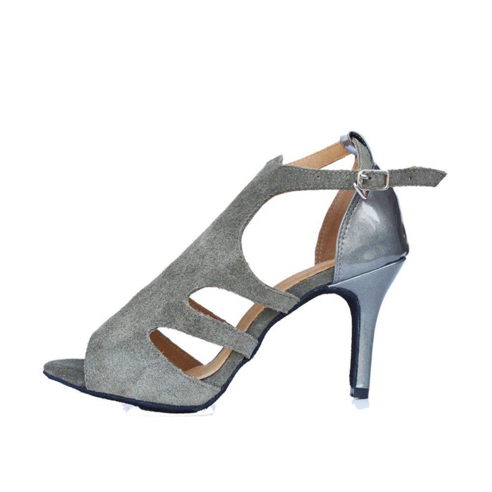 Fuxitoggo Lateinamerikanische Lateinamerikanische Lateinamerikanische Tanzschuhe der Frauen weiche untere Peep-Toe soziale Tanzschuhe Sandale (Farbe   Grau Größe   Foot Length=22.8CM9Inch) a5adc3