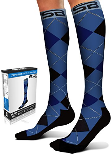 SB SOX Lite Compression Socks (15-20mmHg) for Men & Women - BEST Stockings for Running, Medical, Athletic, Edema, Diabetic, Varicose Veins, Travel, Pregnancy (Dress - Blue Argyle, S/M)