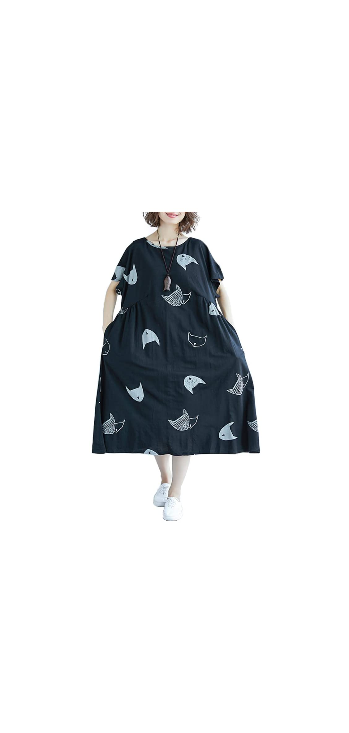 Women Vintage Loose Dress Contrast Color Print Half